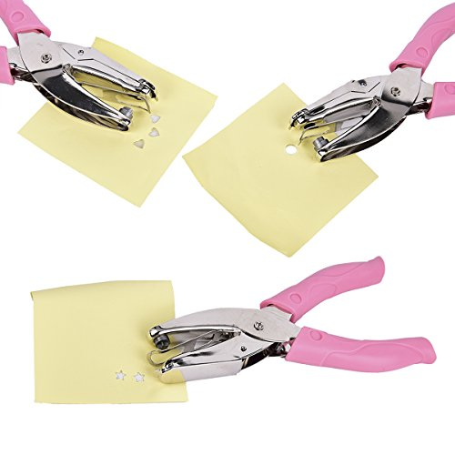 LIUMANG 3 PCS Paper Puncher of Different Shape(Star,Heart,Circular Hole),Metal Star Punchers,Paper Puncher for Any Size Paper or Binder, Perfect for Arts, Crafts and Design by LIUMANG