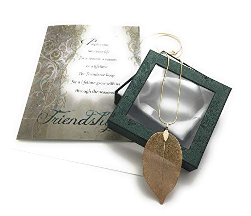 Smiling Wisdom - Gold Real Leaf Friendship Necklace Gift Set - Reason Season Lifetime Friendship Greeting Card - Long Bohemian Statement Sweater Necklace - Her BFF, Woman Best Friend - Gold Leaf