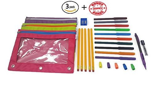 iWRITE 3-Ring Pencil Pouch with Clear Window(3-pack), 23 pc BONUS Stationery Included, Binder Pencil Pouch Contrast Color Zippers, Available in Assorted Colors, Fits Std. Binders (Pink, Purple, Green)