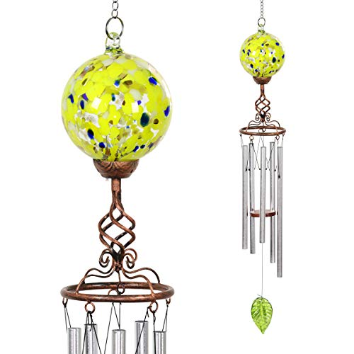 (Exhart Finial Wind Chimes, Yellow Windchimes w/Solar Yellow Glass Ball - Glass Globe Wind Chimes w/Solar-Powered Lights & Bronze Metal Design - Hand-Blown Glass Orb, Tuned Windchimes, 5