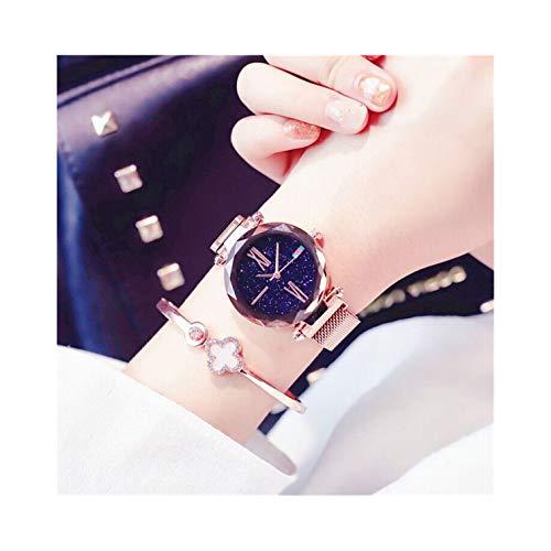 Women Girls Elegant Waterproof Magnet Strap Buckle Stainless Quartz Wristwatch Star Dial Watch Wrist Decoration (Rose ()