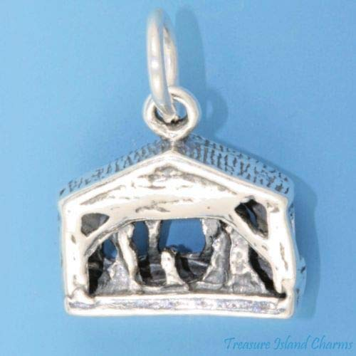 Nativity Scene Birth of Jesus Creche Christmas 3D 925 Sterling Silver Charm Crafting Key Chain Bracelet Necklace Jewelry Accessories Pendants