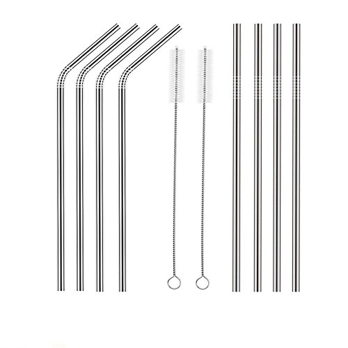 Price comparison product image Boofab Set of 8 Stainless Steel Straws Ultra Long 8.5 Inch Drinking Metal Straws For Tumblers Rumblers Cold Beverage (4 Straight / 4 Bent / 2 Brushes) (Silver)