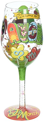 Enesco Lolita Wine Glass August Birthday, Artisan-Blown Glass with Hand-Painted Design -