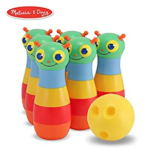 Melissa & Doug Sunny Patch Happy Giddy Bowling Set With 6 Pins, Bowling Ball, and Storage Bag