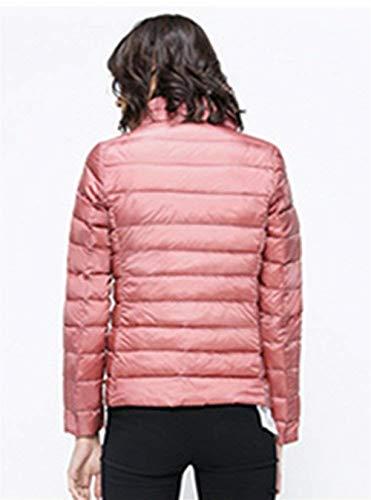 Ragazza Tasche Giacca Manica Outwear Laterali Invernali Chic Coreana Outerwear Moda Monocromo Elegante Di Lunga Hot Donna Cerniera Collo Leggero Con Cappotto Pink Piumino qwp1xATPT