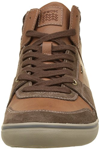 Geox U Box J, Sneakers Hautes Homme, Noir Marron (Ebony/Browncotto)