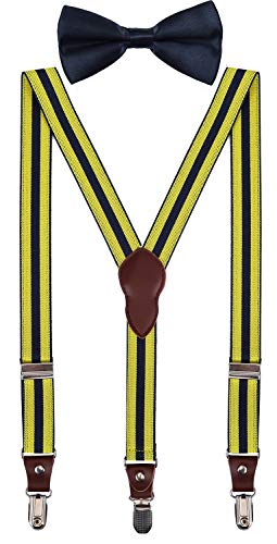 - Shark Tooth Mens Bow tie and Suspenders Yellow Black Striped 47