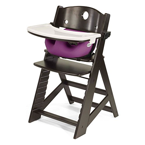Keekaroo Height Right High Chair Espresso with Raspberry Infant Insert and Tray, Espresso/Raspberry