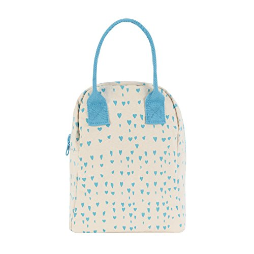 Fluf Zipper Lunch Bag, Organic Cotton (Blue (Heart Canvas Bag)