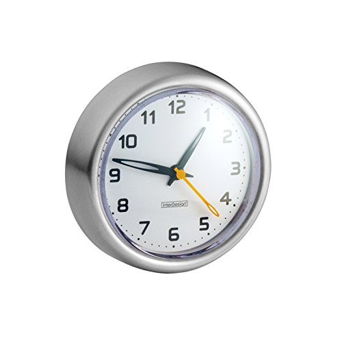 MDesign Suction Clock for Bathroom - Brushed Stainless Steel