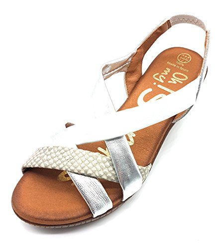 OH MY SANDALS 3658 SAND. TIRAS CUÑA MUJER BLANCO