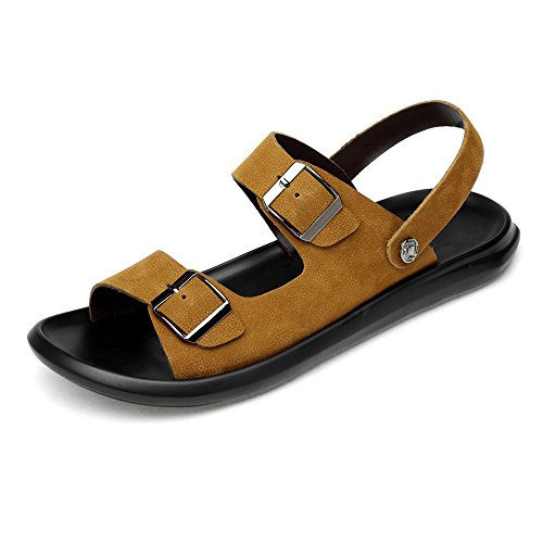 Shoes Adjustable Sandals Buckle Belt with Non Soft Leatherindoor Outdoor Backless Closed Leather Slippers, Ruiyue for Brown Sole Genuine Slip and Men Casual Beach SqUnaZg