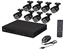 SHIELDeye RSCM-0708B081 8 Channel Surveillance DVR Kit with 8 x 700TVL Cameras with Night Vision Up to 65-Feet (Black)