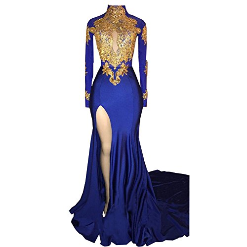 BridalAffair Women's Mermaid High Neck Prom Dress 2018 New Gold Appliques Long Sleeves Split Evening Gowns Womens Applique
