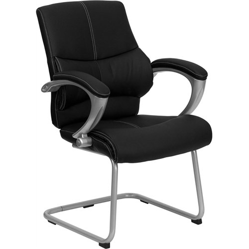 Flash Furniture Black Leather Executive Side Reception Chair with Silver Sled (Silver Base Ships)