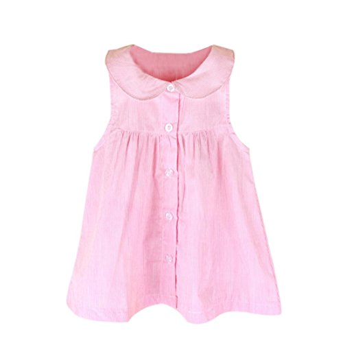 - Summer Toddler Infant Baby Girls Sleeveless Stripe Dress Vest Dress Clothes Tops (12-Months, Pink)