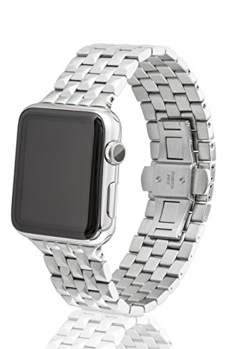 42mm JUUK Locarno Premium Apple Watch band, made with Swiss quality using only the highest grade solid 316L stainless steel with a solid steel butterfly deployant buckle (Brushed) by JUUK