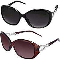 Sheomy Womens Sunglasses Of 2 Combo Of 2 Sunglass (Black Brown) Sunglasses For Womens/Girls/Ladies - (Butterfly-Combo-Black-Brown)