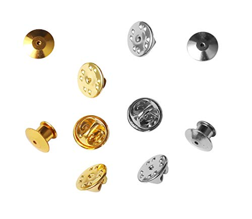 Officepal 130pc Bulk Lot Butterfly Clutch Pin Backs Set - Silver & Gold Locking Metal Clasp Fastener Keepers in Storage Case