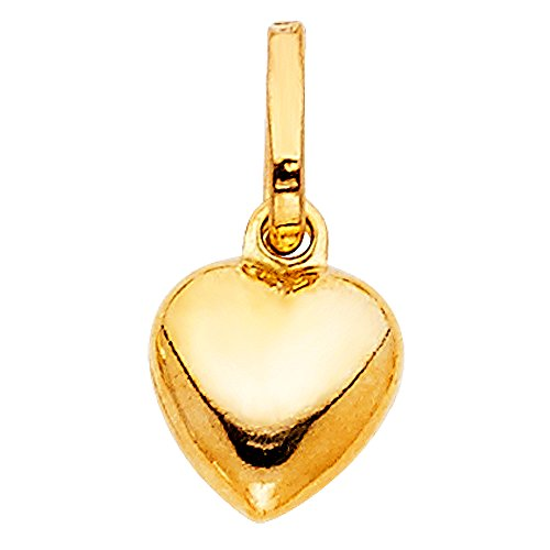 Solid 14k Yellow Gold Small Bubble Heart Pendant Love Charm Polished Tiny 11 x 10 mm (Gold Heart Charm Solid)