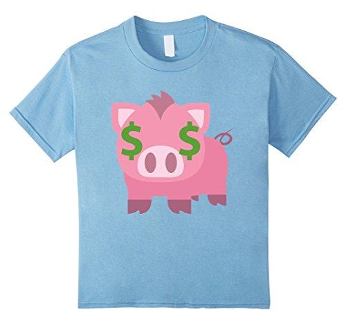 Kids Pig Emoji Money Face Shirt T-Shirt Piglet Tee 12 Baby Blue (Infant Piglet Costume)