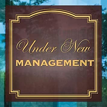 Classic Brown Window Cling 12x12 5-Pack Under New Management CGSignLab