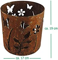 Portavelas – Portavelas grande óxido oxidado metal – Diseño Flores – Jardín Decoración: Amazon.es: Iluminación
