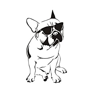 """DCTOP Handsome French Bulldog With Sunglasses Wall Sticker Boys Bedroom Decorative Vinyl Animal Wall Decal Black 16.9""""x29.9"""""""