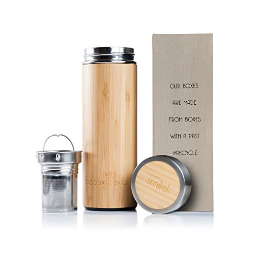 Eco Friendly Mugs - Beau-Tea-Ful Bamboo Tea Tumbler Travel Mug Eco-Friendly Recycled Box | 17.6 Oz Stainless Steel Water Bottle | Perfect Gift for Tea & Environment Lovers | Vacuum Sealed Loose Leaf Thermos |