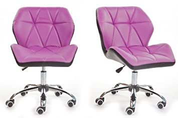 purple luxury computer office desk chair pu leather swivel