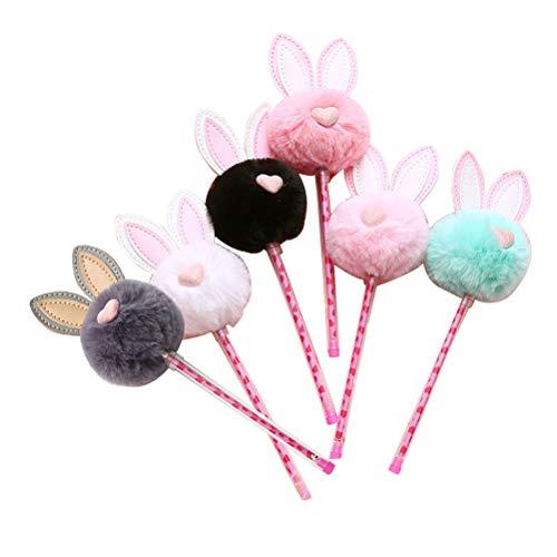STOBOK 6Pcs Gel Ink Rollerball Pens Easter Rabbit Shape Black Ink Gel Pen Kids Easter Party Favors Gifts 0.5mm (Light Pink+ Pink+ Green + White + Black + Gray) ()