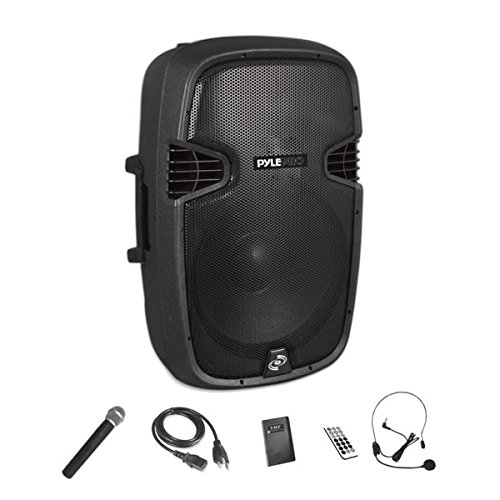 Pyle Bluetooth PA Speaker System Wireless & Portable Powered Karaoke Speaker | Built-in Rechargeable Battery | Handheld Microphone, Headset, Belt-pack | 12'' Subwoofer | 1000 Watt (PPHP1241WMU) by Pyle