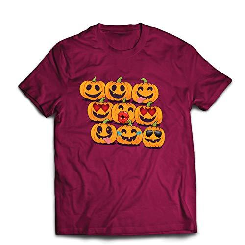 lepni.me Men's T-Shirt Pumpkin Emoji Funny Halloween Party Costume (X-Large Burgundy Multi Color) -