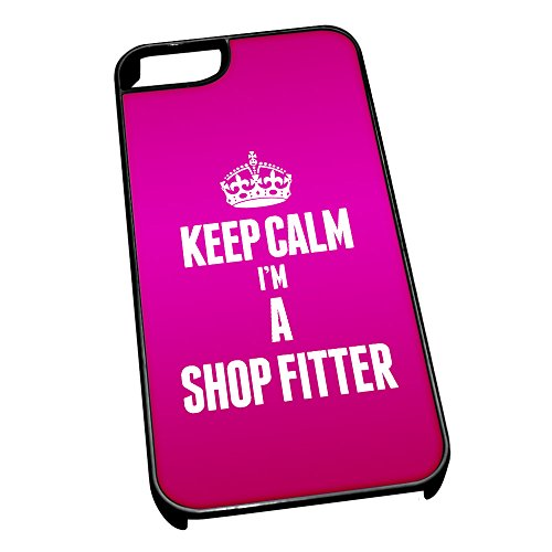Nero cover per iPhone 5/5S 2676 rosa Keep Calm I m A Shop Fitter