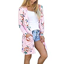 Women Autumn Casual Long Sleeve Floral Print Open Front Cardigan Sweater