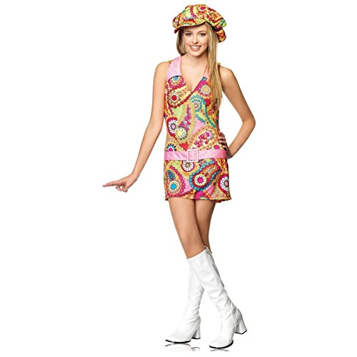 [GSG Groovy Hippie Teen Junior Preteen 1960's Flower Child Halloween Costume] (Wild Flower Child Hippie Costume)