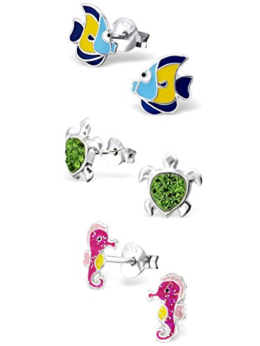 ICYROSE 925 Sterling Silver Set of 3 Pairs Tropical Fish, Green Crystal Sea Turtle, Pink Sea Horse Stud Earrings for Girls (Nickel Free) 20509