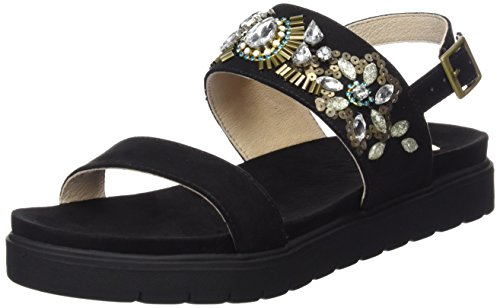 La Strada Black Suede Leather Look Sandal - Sandalias Mujer Negro
