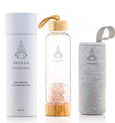 Rose Quartz Crystal Water Bottle for Making Healing Gemstone Infused Water Plus Travel Sleeve (Healing Gem A)
