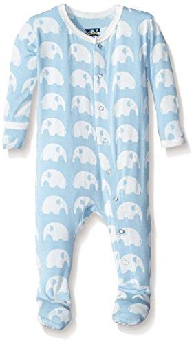KicKee Pants Boys' Essentials Print Footie, Pond Elephant, 0-3 Months