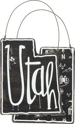 (Wood Sign - Utah - Fun Ornament Sign - Has Metal to Hang with - Double Sided ...)