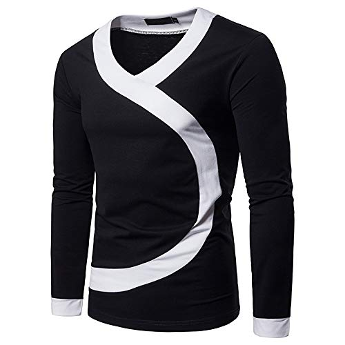 - WHLWY Hoodies Leisure and Comfortable Men's Pure Color Big Body Coloured Generous Long Sleeved T-Shirt. Black 2XL