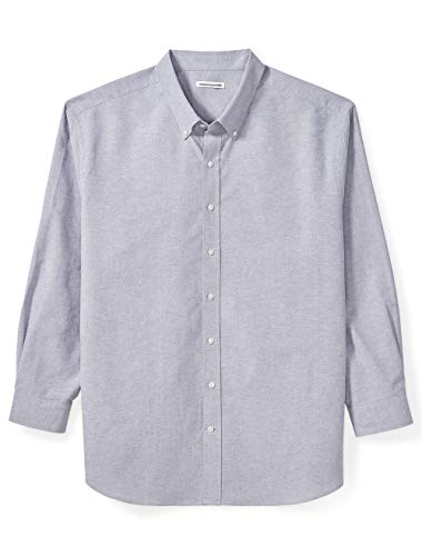 n's Big and Tall Long-Sleeve Oxford Shirt fit by DXL, Gray, 3X ()