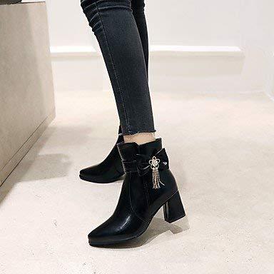 ZHRUI Damenschuhe Kunstleder Herbst Winter Mode Stiefel Stiefel runde Kappe Stiefelies Stiefeletten Schnalle für Freizeitkleid MandelRosa Schwarz Weiß Schwarz US9.5-10   EU41   UK7.5-8   CN42