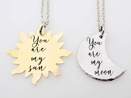 - Couples Gift, His Her, Her Her, His His, Matching set, You are my sun, You are my moon, Celestial jewelry, My sun, My moon, Valentine's day gift for her and him, couples matching, brass, aluminum