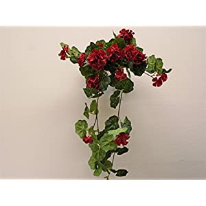 "RED Geranium Hanging Bush 28"" Artificial Silk Flowers 57139RD 42"