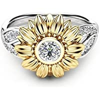 Ransopakul Exquisite Women Two Tone 925 Silver Floral Ring Round Flower 18K Gold Sunflower (9)