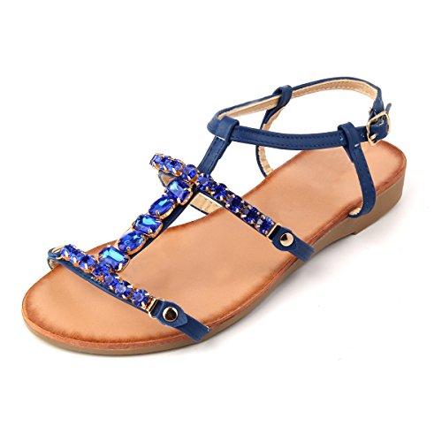Women Shoe Summer Rhinestone Braided Open Toe Flats Sandal for Women 2017 New Design MUDAN (6 B (M), Blue)