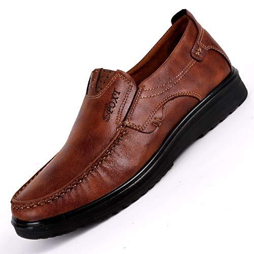 uomini del Qiusa vecchio di Dimensione suola EU Scarpe degli comode Marrone panno Nero 42 Mocassini traspiranti Colore morbidi casuali Pechino 484gqw